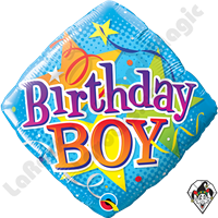 Qualatex 18 Inch Diamond Birthday Boy Stars Foil Balloon 1ct.
