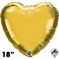 Qualatex 18 Inch Heart Metallic Gold Foil Balloon 1ct