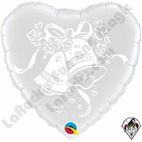 18 Inch Heart Wedding Bells Foil Balloon Qualatex 1ct