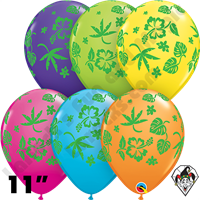 11 Inch Round Assortment Tropical Flora Tropical Balloon Qualatex 50ct