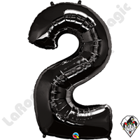 Qualatex 34 Inch Number Two Onyx Black Foil Balloon 1ct