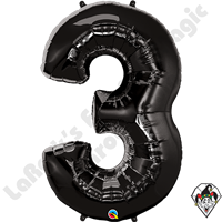 Qualatex 34 Inch Number Three Onyx Black Foil Balloon 1ct
