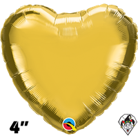 Qualatex 4 Inch Heart Metallic Gold Foil Balloon 1ct