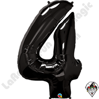 Qualatex 34 Inch Number Four Onyx Black Foil Balloon 1ct