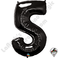 Qualatex 34 Inch Number Five Onyx Black Foil Balloon 1ct