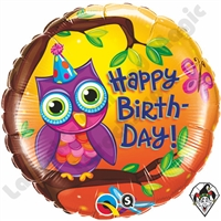 Qualatex 18 Inch Birthday Owl Foil Balloon 1ct