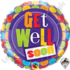Qualatex 18 Inch Round Get Well Dots Patterns Foil Balloon