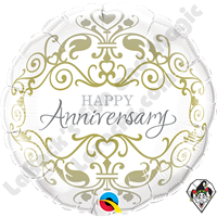 18 Inch Round Anniversary Classic Foil Balloon Qualatex 1ct.