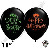 11 Inch Round Assortment Eat, Drink, & Be Scary Qualatex Balloons 50ct