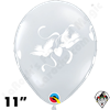 11 Inch Round Love Doves Diamond Clear Balloon Qualatex 50ct