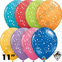 Qualatex 11 Inch Round Assortment Festive Stars-A-Round Balloons 50ct