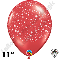 Qualatex 11 Inch Round Ruby Red Stars-A-Round Balloons 50ct