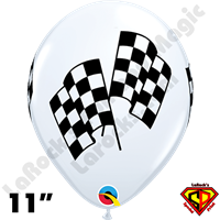 Qualatex 11 Inch Round Racing Flags Balloons 50ct