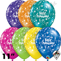 11 Inch Round Assortment Cumpleanos Sparkling Balloons Fantasy Balloon Qualatex 50ct