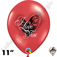 11 Inch Round I Love You Red Rose Ruby Red Balloon Qualatex 50ct