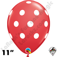Qualatex 11 Inch Round Big Polka Dots Red & White Balloons 50ct