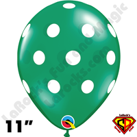 Qualatex 11 Inch Round Big Polka Dots Emerald Green w White Balloons 50ct