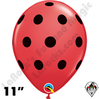 Qualatex 11 Inch Round Big Polka Dots Red With Black Dot Balloons 50ct
