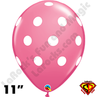 Qualatex 11 Inch Round Big Polka Dots Rose Balloons 50ct