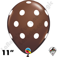 Qualatex 11 Inch Round Big Polka Dots Chocolate Brown & White Dots Balloons 50ct