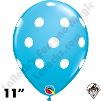 Qualatex 11 Inch Round Big Polka Dots Robins Egg Blue Balloons 50ct