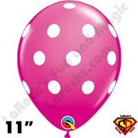 Qualatex 11 Inch Round Big Polka Dots Wild Berry Balloons 50ct