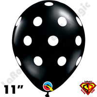 Qualatex 11 Inch Round Big Polka Dots Black/White Balloons 50ct