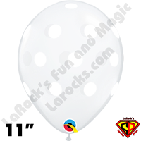 Qualatex 11 Inch Round Big Polka Dots Diamond Clear & White Dots Balloons 50ct
