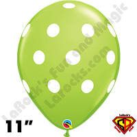 Qualatex 11 Inch Round Big Polka Dots Lime Green Balloons 50ct