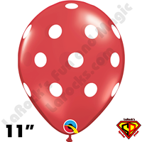 Qualatex 11 Inch Round Big Polka Dots Ruby Red w White Balloons 50ct