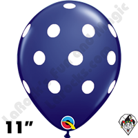 Qualatex 11 Inch Round Big Polka Dots Navy Blue w/White Dots Balloons 50ct