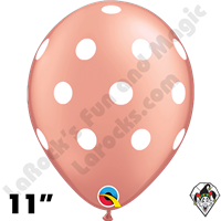 Qualatex 11 Inch Round Big Polka Dots Rose Gold w/White Dots Balloons 50ct