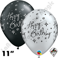 Qualatex 11 Inch Round Birthday Elegant Sparkles & Swirls Silver and Pearl Onyx Black Balloons 50ct
