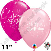 Qualatex 11 Inch Round Birthday Shining Star Pink & Wild Berry Balloons 50ct