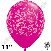 Qualatex 11 Inch Round Damask Wild Berry W/Pink Print Balloons 50ct