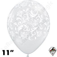 Qualatex 11 Inch Round Damask Diamond Clear White Print Balloons 50ct