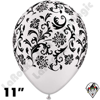 11 Inch Round Damask Pearl White W/Black Print Balloon Qualatex 50ct