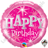 Qualatex 18 Inch Round Birthday Pink Sparkle Foil Balloon
