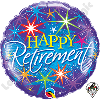 Qualatex 18 Inch Round Retirement Colorful Bursts Foil Balloon