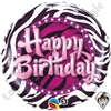 Qualatex 18 Inch Round Birthday Zebra Print Foil Balloon 1ct.