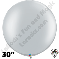 30 Inch Round Metallic Silver Balloon Qualatex 2ct aka 3ft