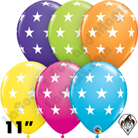 Qualatex 11 Inch Round Assortment Big Stars Balloons 50ct