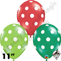 Qualatex 11 Inch Round Big Polka Dots Christmas Assortment Balloons 50ct