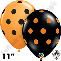 Qualatex 11 Inch Round Big Polka Dots Orange & Black Balloons 50ct