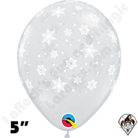 Qualatex 5 Inch Round Snowflake Diamond Clear Balloons 100ct