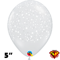 Qualatex 5 Inch Round Diamond Clear Stars-A-Round Balloons 100ct