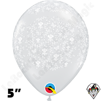 5 Inch Round Flowers-A-Round Diamond Clear Balloons Qualatex 100ct