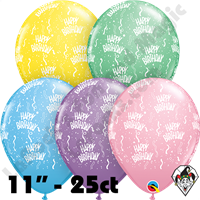 Qualatex 11 Inch Round Happy Birthday A Round Pastel Assortment Balloons 25ct