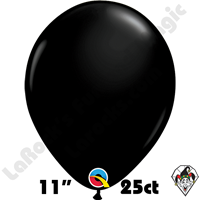 Qualatex | Round Balloons | 11 Inch Round Single Jewel & Fashion Tone Colors 25 count bags | Onyx Black