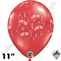 Qualatex 11 Inch Round I Love You-A-Round Ruby Red Balloons 25ct